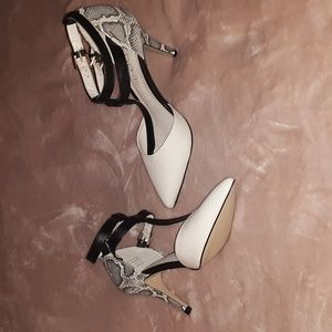 cream and snake high heels, never worn